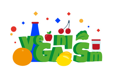 Veganism word. Organic healthy food. Lemon, grapefruit, apple, salad and more. Vector illustration. Separate objects. Isolate. Illustration