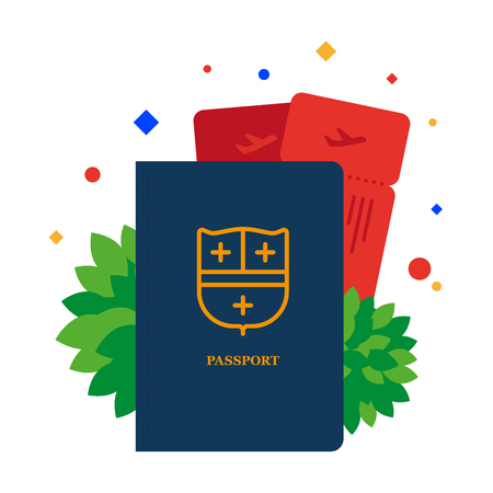 Passport plane tickets flat. It's time to go on a journey. Vector illustration. Separate objects. Isolate. Illustration