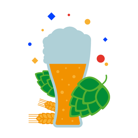 Craft beer. A tall glass of beer with foam, malt and hops. Flat illustration. Separate objects. Isolate.