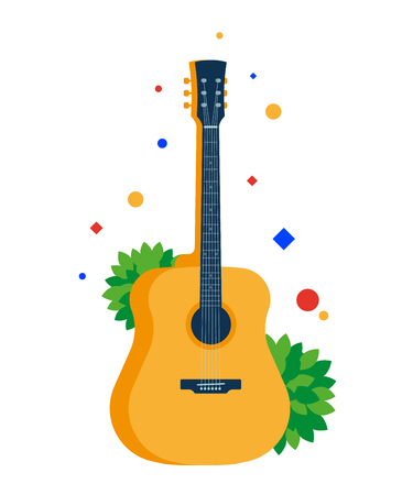 Classical acoustic guitar. Musical string instrument. Vector, flat illustration EPS 10. Separate objects. Isolated. Illustration