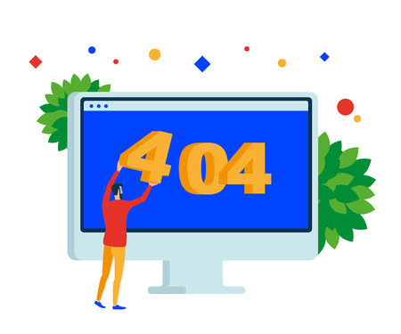 404 error page. Web site on desktop computer. Vector, flat illustration EPS 10. Separate objects. Isolated. Illustration