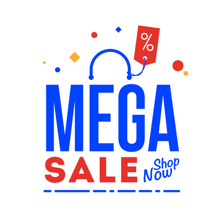 Mega sale word. Shop now type. Vector, flat illustration EPS 10. Separate objects. Isolated.