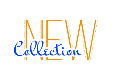 New Collection word type. Vector, flat illustration EPS 10. Separate objects. Isolated.