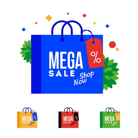 Mega Sale word on shopping bag. Vector, flat illustration EPS 10. Separate objects. Isolated.
