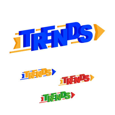 Trends word. Arrow direction uptrend. Vector, flat illustration EPS 10. Separate objects. Isolated.