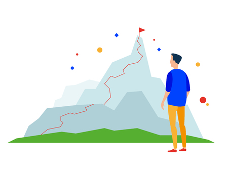 Mountain peak. Business success path. Vector, flat illustration EPS 10. Separate objects. Isolated.