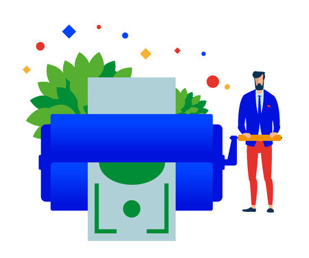 Money maker. Man prints money. Vector, flat illustration EPS 10. Separate objects. Isolated.