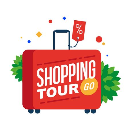 Shopping tour. Red suitcase with text. Illustration