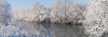 agricultural area: River in the agricultural area during the winter