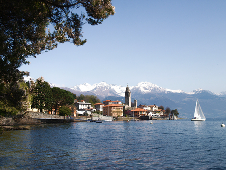 Lake of Como, Italy  view of the lake from the beach of Cremia photo