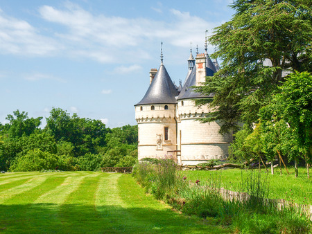 the circumstances: Chaumont-s-Loire, France - June 8, 2014  Chateau Chaumont-s-Loire  View of part of the castle and the garden circumstances