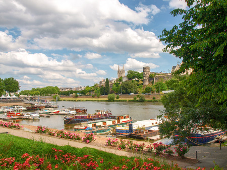 Angers, France - June 10, 2014  View of the River and the harbor  Publikacyjne