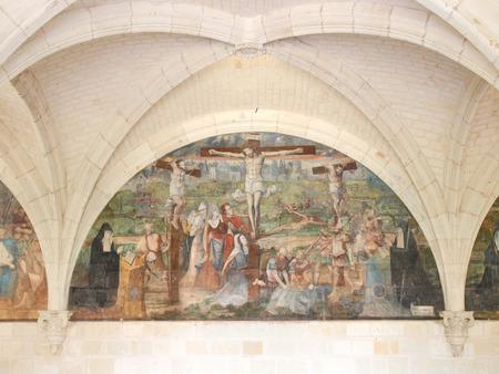 abbaye: Fontevraud, France - June 10, 2014  Abbaye de Fontevraud  Holy image seen through an entrance Editorial