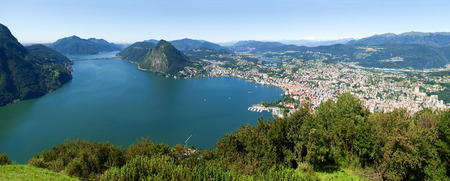 Lugano, Switzerland - Juli 31, 2014: Images of the Gulf of Lugano from Monte Bré above the City.
