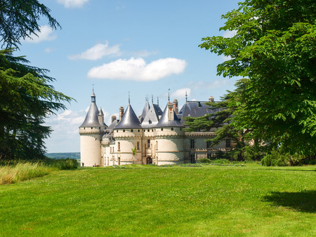the circumstances: Chaumont-s-Loire, France - June 8, 2014: Chateau Chaumont-s-Loire. View of part of the castle and the garden circumstances. Editorial