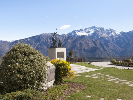 pius: Ghisallo, Italy - April 1, 2015: Monument in memory of cyclists to he Madonna del Ghisallo, proclaimed Patroness of Cyclists by Pope Pius XII in 1946