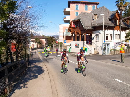 gran prix: Lugano, Switzerland - March 01, 2015: Cycling race \ Grand Prix of Lugano in 2015, \ This is the 69th edition and takes place along the streets of the city on the banks of Lake Lugano. A beautiful sunny day accompanies the exhibition. Editorial