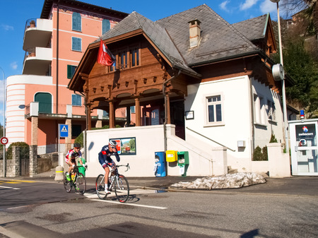 gran prix: Lugano, Switzerland - March 01, 2015: Cycling race \Grand Prix of Lugano in 2015,\ This is the 69th edition and takes place along the streets of the city on the banks of Lake Lugano. A beautiful sunny day accompanies the exhibition.