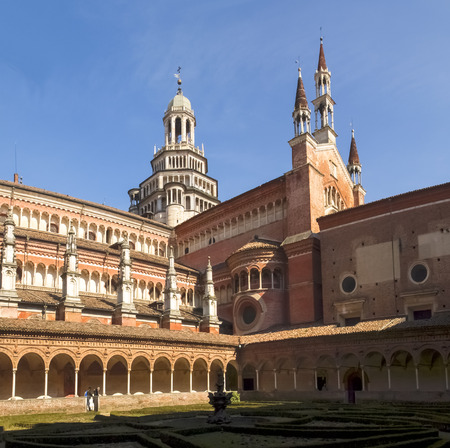 chartreuse: Certosa di Pavia, Italy - March 8, 2015: Cloister with views of the church