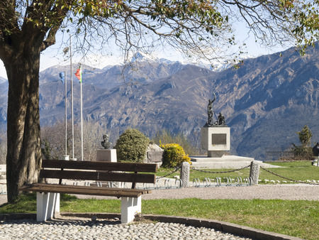 proclaimed: Ghisallo, Italy - April 1, 2015: Monument in memory of cyclists to he Madonna del Ghisallo, proclaimed Patroness of Cyclists by Pope Pius XII in 1946