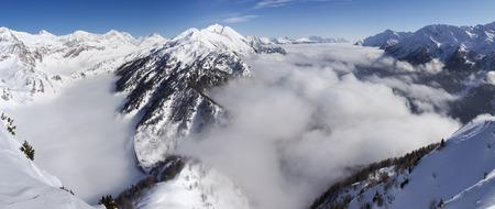 ice dam: Foisch Switzerland 7 February 2015: Beautiful sunny day and the snow in the Italian Switzerland. Airolo Hut Foisch