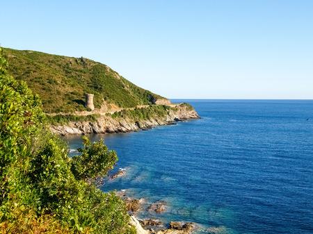 corse: Corse - Corsica, France: Image of Cap Corse, the mediterranean coast. Ancient Guard tower.