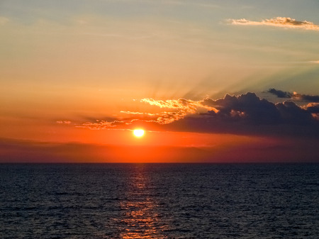 corsica: Corse - Corsica, France: Sunset from the ferry Stock Photo