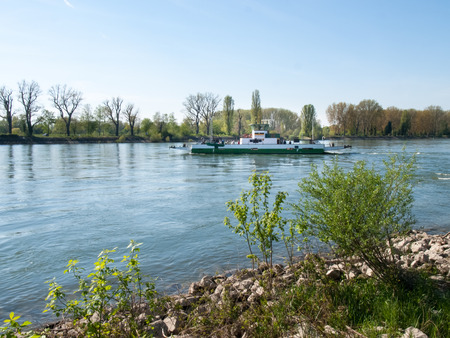rhein: Buelhl am Rhein, Germany: Barge for container transport on the Rhine River