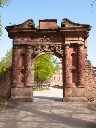 suffered: Heidelberg, Germany - April 20, 2015: Heidelberg Castle, whose interior remains largely in ruins to repair damage suffered during the Thirty Years War. Editorial