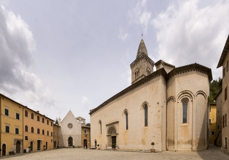 macerated: Italy, Visso - april 25, 2015: Images of the Main Square of the medieval part of comunii most beautiful in Italy. The town of Visso, dating back to the Roman period between the first century. B.C. and the first century. d. C Editorial