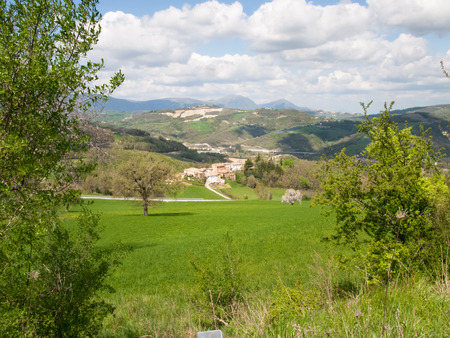 macerated: Italy, Apennines Umbria, Marche, Abruzzo: Panorama of the Apennine hills Umbria-Marche-Abruzzo