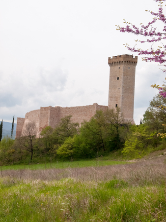 macerated: Italy, Apennines Marche romagna - April 25, 2015: Castle along the scenic ritch through the beautiful natural country.