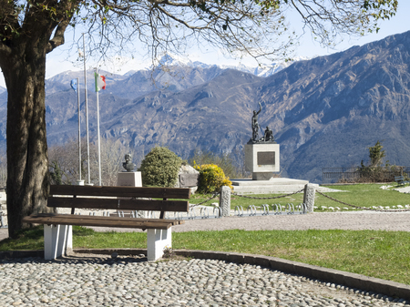 Ghisallo, Italy - April 1, 2015: Monument in memory of cyclists to he Madonna del Ghisallo, proclaimed Patroness of Cyclists by Pope Pius XII in 1946