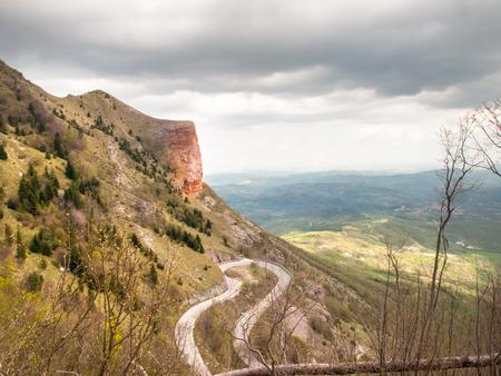 macerated: Italy, Apennines Umbria-Marche-Abruzzo: Road Trebbio, Bolognola, Sarnano. Panorama of the mountains Sibillini
