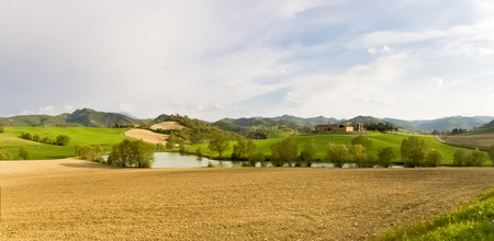 macerated: Italy, Apennines Marche romagna. Road Panorama of the country. Stock Photo