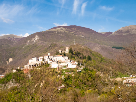 macerated: Italy, Apennines Umbria-Marche-Abruzzo: Road Trebbio, Bolognola, Sarnano. Panorama of the mountains Sibillini