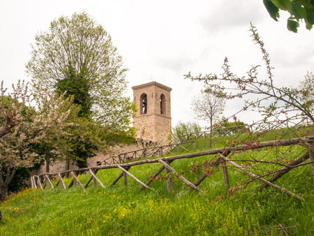 apennines: Italy, Apennines Marche romagna - April 25, 2015: Church along the scenic ritch through the beautiful natural country.