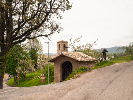 macerated: Italy, Apennines Marche romagna - April 25, 2015: Church along the scenic ritch through the beautiful natural country.