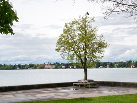 lakefront: Lindau, Germany - May 2, 2015: Lakefront overlooking durnate a gloomy day. Stock Photo