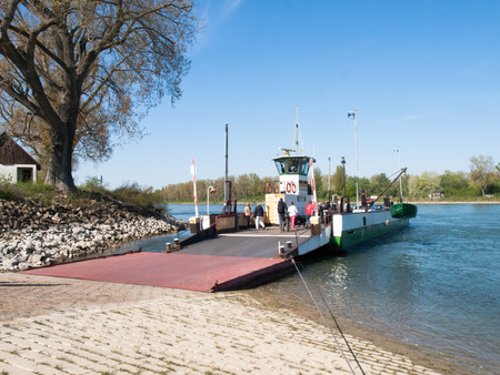 rhein: Buelhl am Rhein, Germany: Ferry to transport vehicles and people on the river Rhine