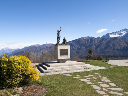 mountain bicycling: Ghisallo, Italy - April 1, 2015: Monument in memory of cyclists to he Madonna del Ghisallo, proclaimed Patroness of Cyclists by Pope Pius XII in 1946