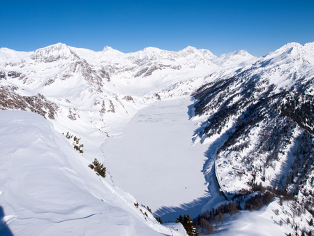 ice dam: Beautiful sunny day and the snow in the Italian Switzerland. Airolo, Hut Foisch
