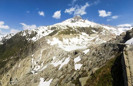 valais: Switzerland: Canton Valais. Rhone glacier melting due to the climate