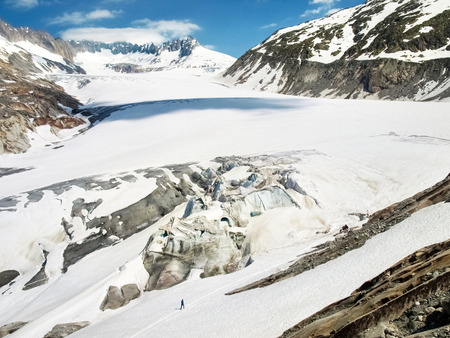 rhone: Rhone glacier melting due to the climate Stock Photo