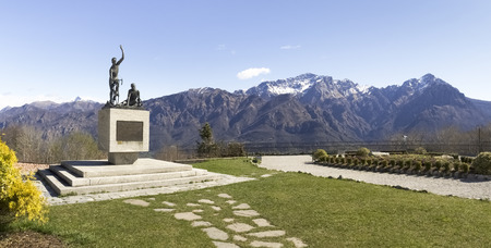 Ghisallo, Italy - April 1, 2015: Monument in memory of cyclists to the Madonna del Ghisallo, proclaimed Patroness of Cyclists by Pope Pius XII in 1946 Editorial