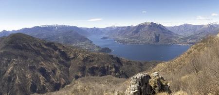 lake como: Panorama of Lake Como, view of Bellagio and Como branch