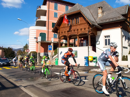 gran prix: Lugano, Switzerland - March 01, 2015: Cycling race Grand Prix of Lugano in 2015, This is the 69th edition and takes place along the streets of the city on the banks of Lake Lugano. A beautiful sunny day accompanies the exhibition.