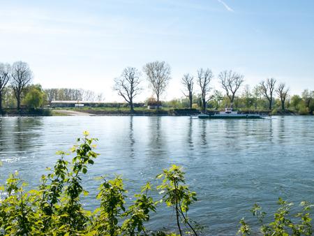 rhein: Buelhl am Rhein, Germany: Barge for container transport on the Rhine River