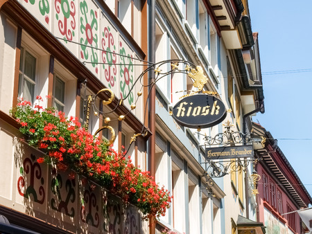Appenzell, Switzerland - Juli 07, 2015: Appenzell town. Typical old houses and colorful wooden as usual.