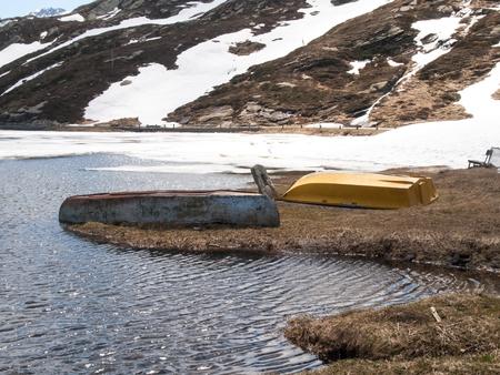 thawing: San Bernardino pass, Switzerland : Lake San Bernardino during thawing of the water.